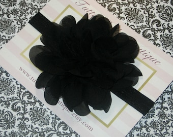 Black Flower Headband, Baby Headband, Black Headband Black Chiffon Flower, Black Hair Bow, Newborn Headband Toddler Headband Baby Hair Bow