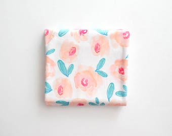 Baby Toddler Modern Fitted Minky Crib Sheet - Indy Bloom Floral Peach and Fuchsia Blossoms
