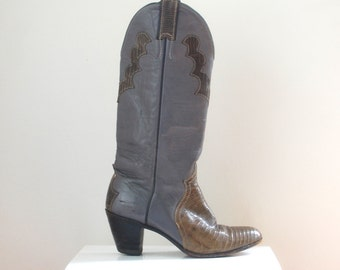 Justin Gray Leather Cowboy Western Boots- Women's Size 6 1/2 B