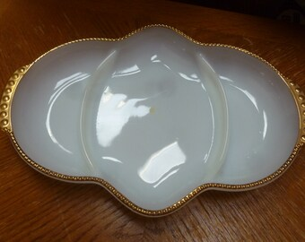 3 section white milk glass serving dish with gold trim by Fire King Oven Proof