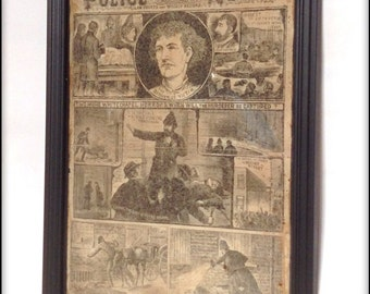 Aged Reproduction Victorian Police News Jack the Ripper cover.