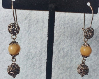 Vintage, Victorian Style Silver with Yellow Bead Dangle Earrings , Pierced Earrings, Vintage Jewelry, Vintage Earrings