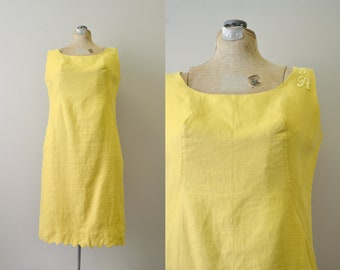 1960s Mustard Monogrammed Linen Shift Dress