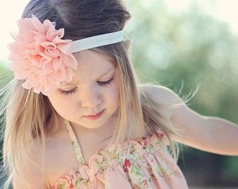 Peach and Ivory Large Flower Headband - Flower Girl Newborn Baby Infant Toddler - Wedding Lace Chiffon Flower peachy pink Over the Top Huge