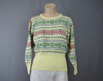 Vintage Yellow Sweater, fits 36 to 38 bust, Knit Cotton Intarsia Red Green Blue Black Ski