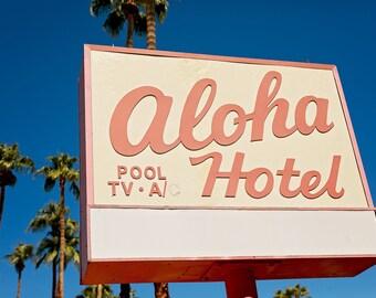Palm Springs Aloha Hotel Sign | Mid Century Modern Art | Retro Home Decor | Palm Springs Style | Pink Wall Art | Fine Art Photography