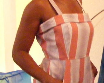 ROCKABILLY swimsuit Romper stripes vtg Herman's S to M playsuit