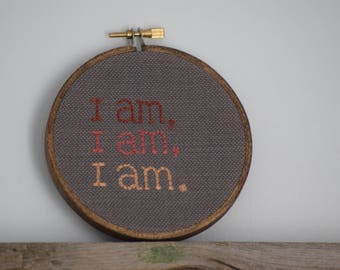I Am Sylvia Plath Quote 4 Inch Hand Embroidered Hoop