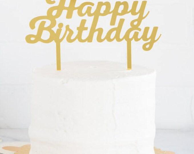 Happy Birthday Cake Topper in Gold, Acrylic Cake Topper, Happy Birthday Topper, Gold Cake Topper, Gold Happy Birthday Topper, PGB430