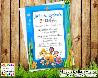 Bubble Guppies Birthday Invitation Twins - Printable