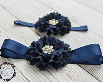 Navy Blue headband , Navy blue sash, Navy flower sash, baby headbands,bridal wedding sash, bridesmaid flower sash, rustic wedding sash,