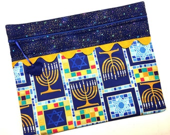 Hannukkah Menorah Cross Stitch, Embroidery Project Bag