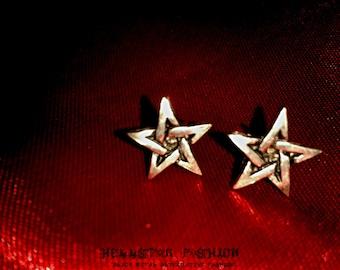 inverted pentagram satanic stud earrings