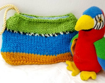 Blue and Gold Macaw Wristlet, Parrot, Bird Lover's Gift, Unusual, Knitted, Handmade