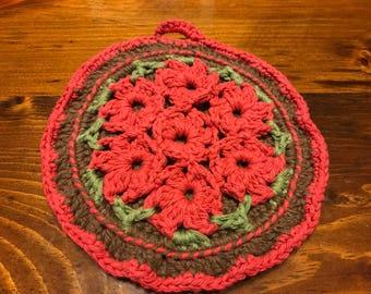 Handmade crocheted potholder- Flowers