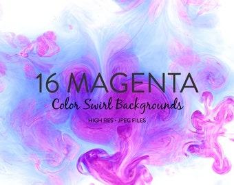 Water and Ink Background Texture - Bright Pink and Magenta Color Swirl Backgrounds
