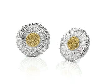 """Buccellati """"Blossoms Daisy"""" Small Button Earrings Sterling Silver with Gold Accents"""