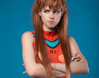Made to order: Asuka Langley cosplay wig + hairpins EVA Evangelion