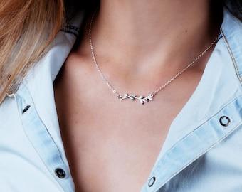 Branch Necklace, Silver Boho Necklace,  Black Silver Necklace, Twig Necklace, Oxidized Silver Necklace, Delicate Necklace, Bohemian Necklace