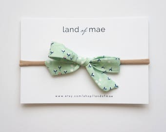 Mint Modern Floral Bow** NYLON OR CLIP** Baby headband, Girl headband, Fabric bow, Matching bow, Girl Gift, Baby Gift