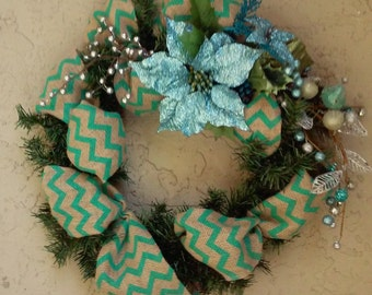 Christmas Door Wreath-Turquoise