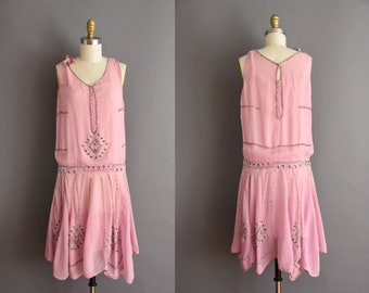 1920s vintage rose pedal pink silver beaded flapper dress 20s Small Medium pink chiffon heavy beaded antique dress