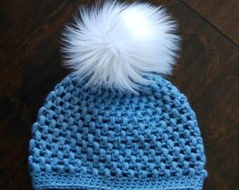 Winter Beanie, Winter Hat, Slouchy Beanie, Valentine's Gift, Handmade, Crochet,Puff stitch,Blue Hat,Faux Fur Pompom,Ready to ship