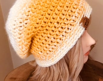 Yellow Ombre Slouchy Hat