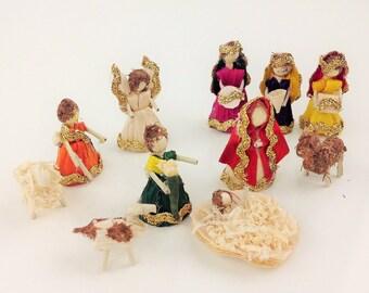 Miniature Mexican Corn Husk Nativity Scene Nativity Set Christmas Decor Handmade Christmas Decor Christmas Gift Ideas
