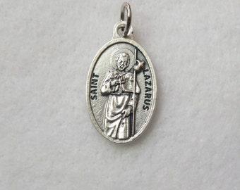 St Lazarus of Bethany San Lazaro Lazarus of the Four Days Religious Catholic Patron Saint Reversible Medal Metal Oval Charm Pendant Italy