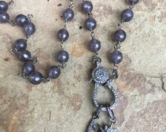 Long Gray Jade Beaded Necklace with Pave Diamond Lobster Clasp