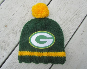 GREEN BAY Packers Hand Knit Baby Hat, Green Bay Baby Hat, Hand Knitted Baby Hat, Baby Football Hat, Packers Baby Hat