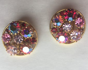 Hot Pink Aurora Borealis Clip Earrings from Austria
