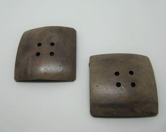 Set of 2 large buttons coconut 5 colors-Brown ref 7 cm square