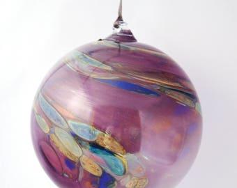Vintage Glass Ornament, Blown Glass Sphere, Galaxy Glass Ornament, Art Glass Ball, Vintage Purple Glass Orb, Big Glass Ornament