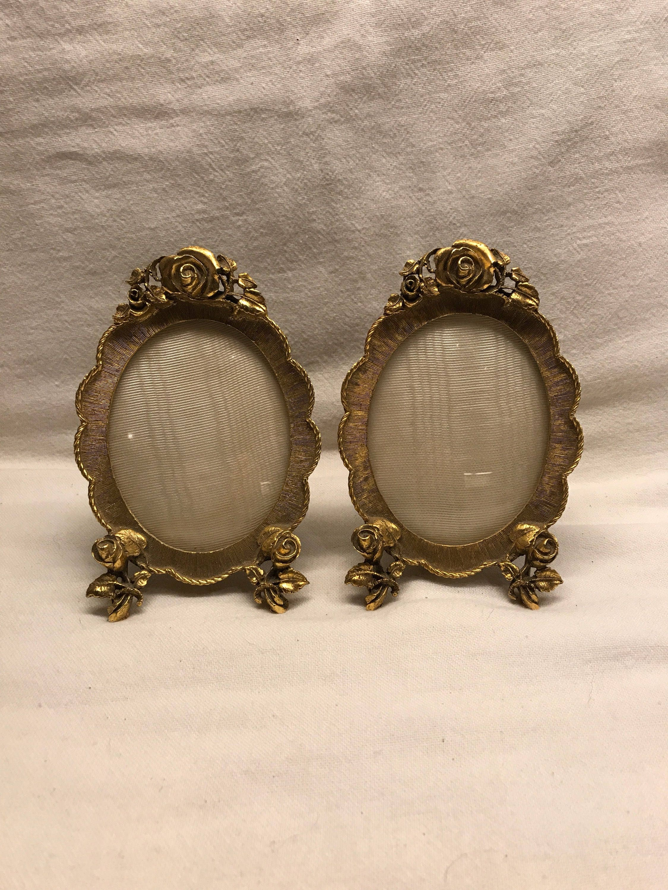 Matson 24k gold plated ormolu convex picture frame pair zoom jeuxipadfo Images