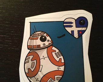 Individual Die Cut Droid Love sticker (Item 01-367)