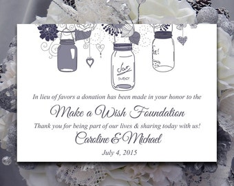 Wedding Favor Donation Card Template - Mason Jar Wedding Charity Favor Donation Card - Pewter Wedding Favor - DIY Wedding Mason Jar Favor