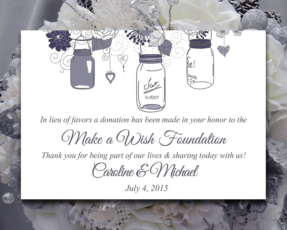 wedding favor donation card template mason jar wedding. Black Bedroom Furniture Sets. Home Design Ideas