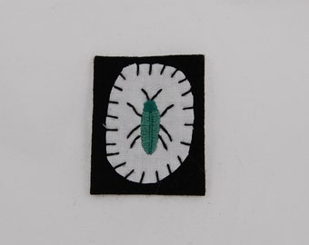 Teal Beetle Embroidered Patch