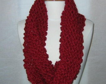Soft and Plush Cranberry Red Cowl Scarf Neck Warmer