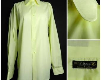60s mens cotton blend pale yellow long sleeved button down shirt large dog ear collar 42 - 44'' chest L