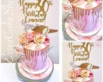 Happy Birthday Cake Topper, Birthday Cake Decoration, First Birthday Cake Topper, Personalised Cake Topper,  pink, rose gold, silver,