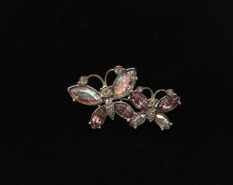 Vintage Avon Brooch, Butterflies, Silvertone, Violet, Clear, Crystal Like