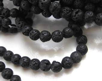 Natural Lava stone Round Bead, Small Lava beads, 6mm, PH-039