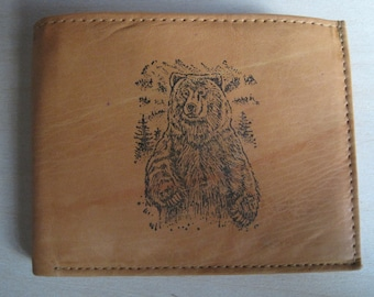 """Mankind Wallets Men's Leather RFID Blocking Billfold w/ """"Grizzly Bear Hunting"""" Image~Makes a Great Gift!"""