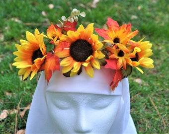 Sunflower Crown. Fall Flower Crown. Sunflower and Fall Leaf Crown.  Fall Flower Garland. Orange and Yellow Fall Headpiece. Autumn Crown.