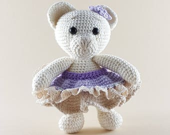 Crochet doll pattern amigurumi pdf Lawender Bear blue