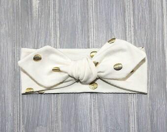 White and Gold Headband- Gold Dot Headband- Metallic Headband - Girls Headband - Baby Headband - Knotted Headband - Metallic Gold Headband