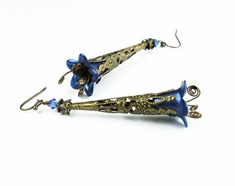 Long Antiqued Brass Filigree and Blue Lucite Flower Earrings, Vintage Style, Swarovski Crystals, Hand Dyed